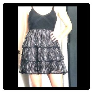 Silk Ruffle & Bandage Top Bebe Dress